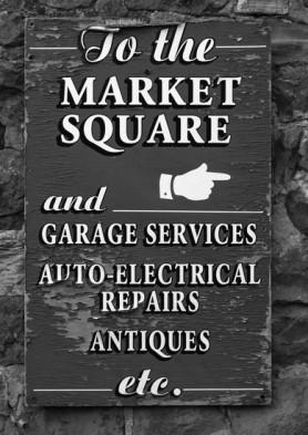 Market Square, garage signs. K Holland