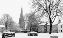 Snowy Market Square and Church.  Black & White.  K Holland