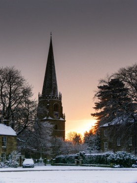 Snowy St Mary's Church. Colour.  K Holland